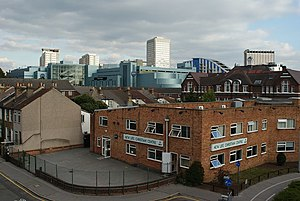 Architecture of the London Borough of Croydon - View towards Central Croydon from Pitlake Bridge
