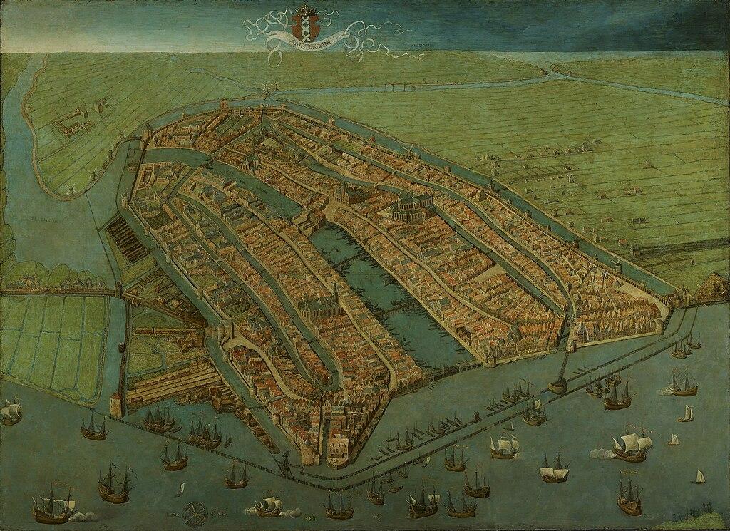 Plus ancienne carte d'Amsterdam (1538), vue vers du nord vers le sud. Au premier plan le port qui deviendra la gare.