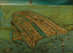 Cornelis Anthonisz. - Bird's eye view of Amsterdam . 1538