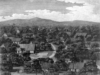 History of Palau - View of part of the town of Pelew, and the place of Council, 1788