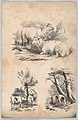 Vignette with two sheep, Vignette with two cows in a pool, and Vignette of a wood-gatherer, in- The New York Drawing Book, Containing a Series of Original Designs and Sketches of American Scenery, No. 2 MET DP860314.jpg