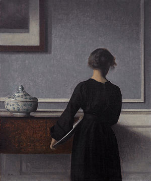 Vilhelm Hammershøi - Interior with Young Woman from Behind (1904)