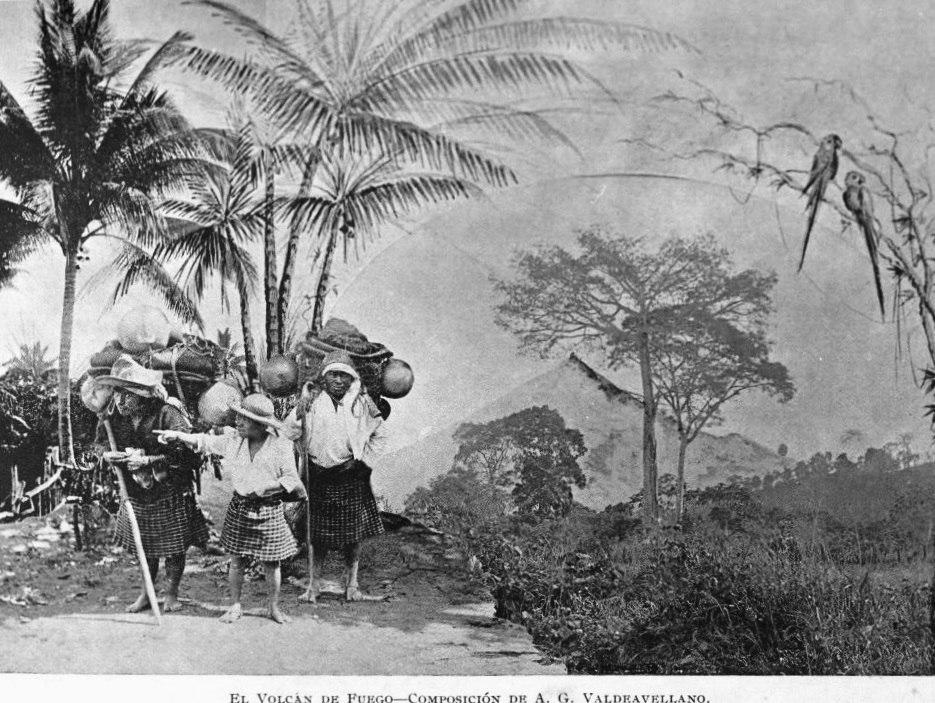 Photographic composition of Volcán de Fuego as seen from Alotenango in 1897. Composition by Alberto G. Valdeavellano.