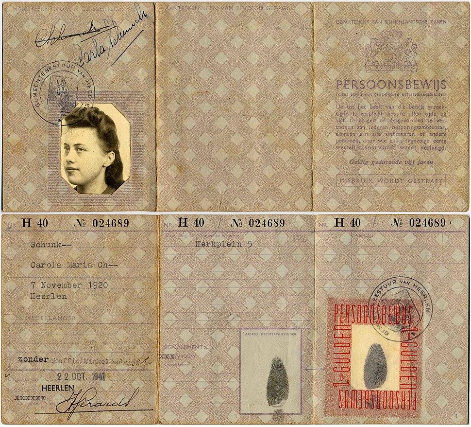WWII netherlands persoonsbewijs