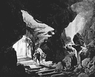 Parsifal - One of the imaginative scene designs for the controversial 1903 production at the Metropolitan Opera: Gurnemanz conducts Parsifal to Monsalvat (act I).