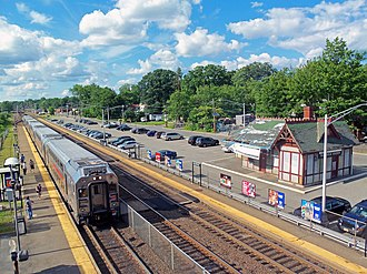 Waldwick station - Waldwick station from pedestrian bridge at south end. Original depot at right.