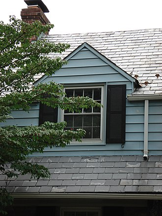 Wall dormer - Wall dormer on a 1950 Colonial Revival house in Bethesda, Maryland, USA.