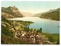 Wallenstadt Lake, Weesen, near Leistkamm and view on the mountain range of Aliver, St. Gall, Switzerland-LCCN2001703190.tif