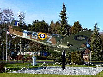 "RAF High Wycombe - Supermarine Spitfire IIa, P7666, EB-Z, ""Observer Corps"", the personal mount of Olympic Hurdler and OC, 41 Squadron, Sqn Ldr Don Finlay, 1940-41, is the gate guardian at RAF High Wycombe."