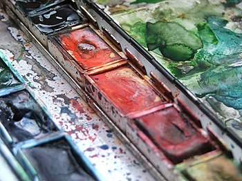 A watercolour painting set.