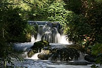 Small, rocky, wooded waterfall in summer