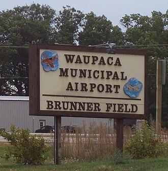 Waupaca Municipal Airport - Image: Waupaca Municipal Airport Sign