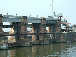 River Weaver - Weaver Sluices on the Manchester Ship Canal discharge water from the Weaver into the Mersey.