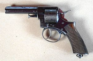 Gun Quarter - An 1868 Webley & Scott Revolver. Webley's revolvers became the official sidearms of the British Army in 1887