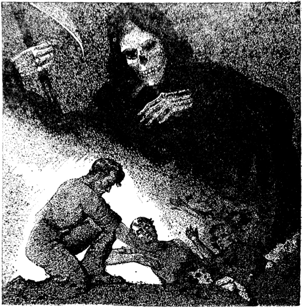 The grim Reaper stands over a scene of one man strangling another.