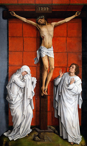 Stabat Mater (art) - Image: Weyden Christ on the Cross with Mary and St John
