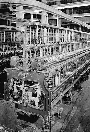 Spinning frame - A late 19th-century cotton spinning frame built by Whitin Machine Works, Whitinsville, Mass.