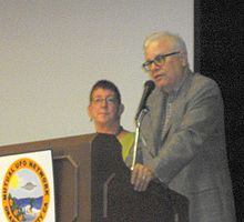 Author Whitley Strieber and Anne Strieber, lecturing to MUFON