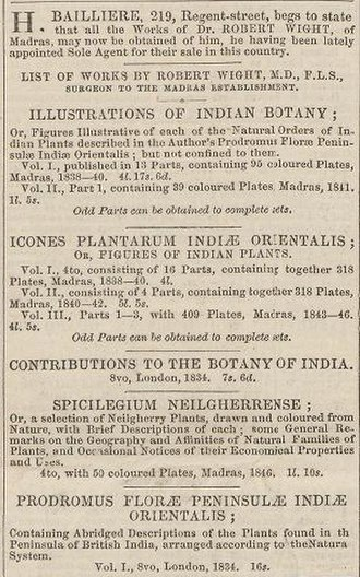 Robert Wight - Advertisement for books (1846)