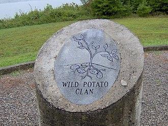 Cherokee clans - Wild Potato Clan pillar from the monument at Chota.