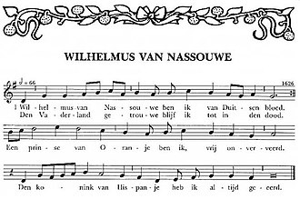 Wilhelmus - First stanza of the Wilhelmus