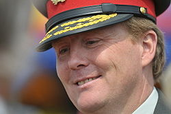 Close-up of Willem-Alexander wearing a military peaked cap