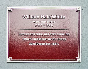 Hale White - Plaque on his birthplace