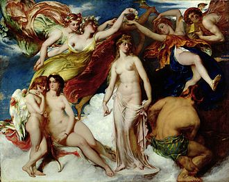 The Dawn of Love (painting) - Image: William Etty Pandora Crowned by the Seasons, 1824