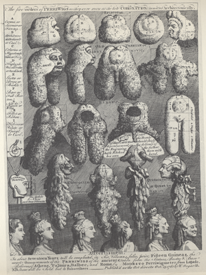 Five Orders of Periwigs - The Five Orders of Perriwigs as they were Worn at the Late Coronation Measured Architectonically, William Hogarth, 1761.