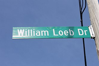 William Loeb III - William Loeb Drive leads to the New Hampshire Union Leader physical plant and offices in Manchester, New Hampshire.