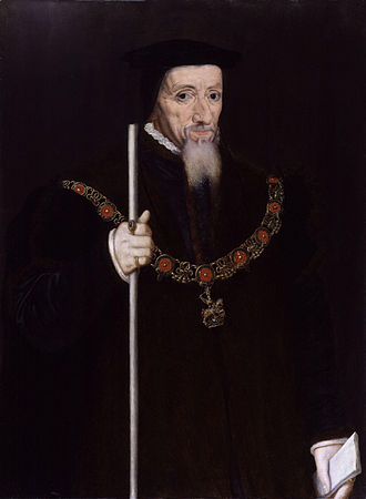 William Paulet, 1st Marquess of Winchester - Paulet, holding the white staff as a symbol of the office of Lord High Treasurer