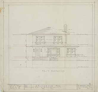 Liebenberg and Kaplan - Front elevation plan for William Wigginton house