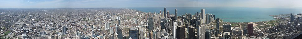 View of Chicago greater metropolitan region and the North branch of the Chicago River from the Willis Tower