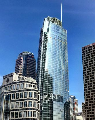 Wilshire Grand Center - The Wilshire Grand Tower nearing completion.