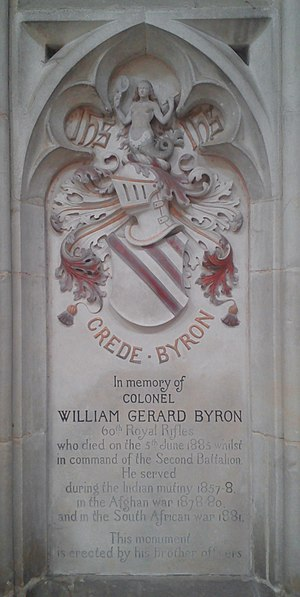 Baron Byron - Winchester Cathedral, memorial for Colonel William Gerard Byron  (died 1885).