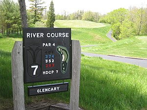 Par (score) - A sign at The River Course at Blackwolf Run in Kohler, Wisconsin, indicating that the seventh hole being played is a par-four