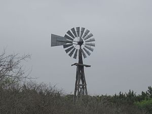 Edwards County, Texas - Lone wooden windmill in eastern Edwards County