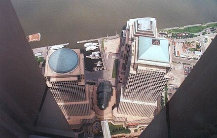 View of World Financial Center from the Windows on the World dining room. World Financial Center from the Windows on the World restaurant.jpg