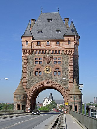 Bridge tower - The late 19th century Bridge tower on the Nibelungen Bridge in Worms