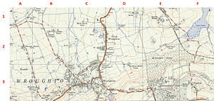 Wroughton - Old Ordnance Survey Map from 1959 showing Wroughton, Burderop Park and Hodson. Grid squares are 1km.