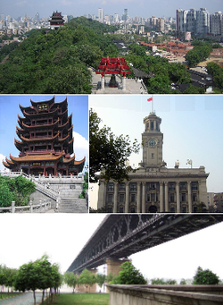 From top: Wuhan and the யாங்சி ஆறு, Yellow Crane Tower, Wuhan Custom House, and Wuhan Yangtze River Bridge