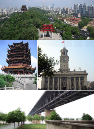 Wuhan - From top: Wuhan and the Yangtze River, Yellow Crane Tower, Wuhan Custom House, and Wuhan Yangtze River Bridge