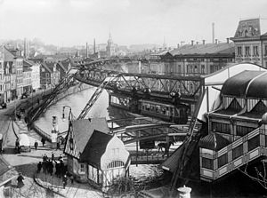 MAN SE - Suspension railway in Wuppertal, Germany, construction MAN-Werk Gustavsburg