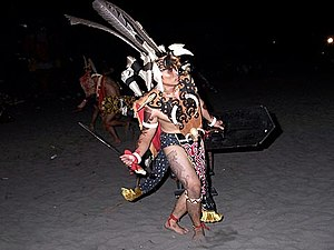 Gawai Dayak -  A Dayak man performing the Tarian Ngajat (Ngajat Dance)