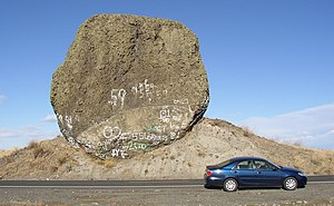 Boulder Park - Yeager Rock, a haystack rock resting on ground moraine composed of glacial till on Waterville Plateau, Washington, USA