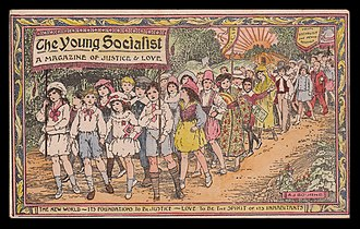 Socialist Sunday School - Promotional postcard advertising the monthly magazine of the Socialist Sunday School movement in Great Britain, The Young Socialist