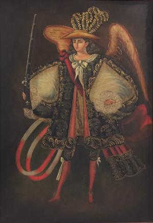 Ángel arcabucero - An ángel arcabucero (arquebusier angel), c. 1750. Cuzco School.