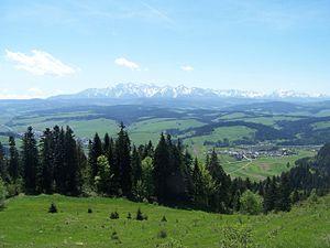 Spisko-Gubałowski Highlands - View from the Pieniny onto the Tatra Mountains and the eastern Spisko-Gubałoski Highlands