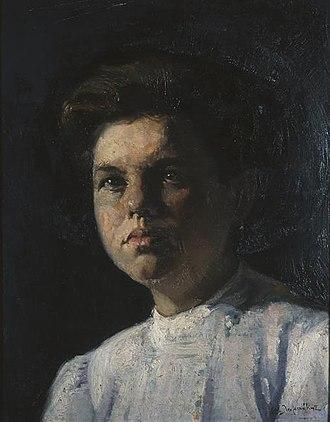 Emmanouil Lampakis - Image: Λαμπάκης Εμμανουήλ Προσωπογραφία κόρης με άσπρο φόρεμα