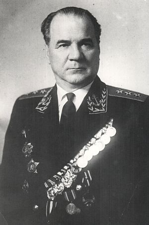 Order of Ushakov - Admiral Nikolay Mikhaylovich Kharlamov, a recipient of the Order of Ushakov 1st class